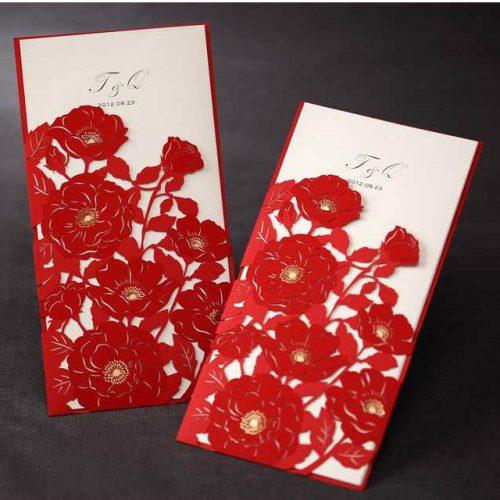 Partecipazioni pizzo fiori rossi