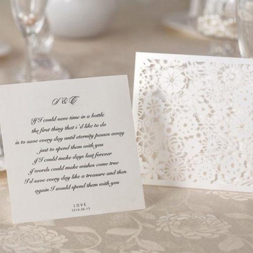 Partecipazioni Matrimonio pizzo tasca Fiori