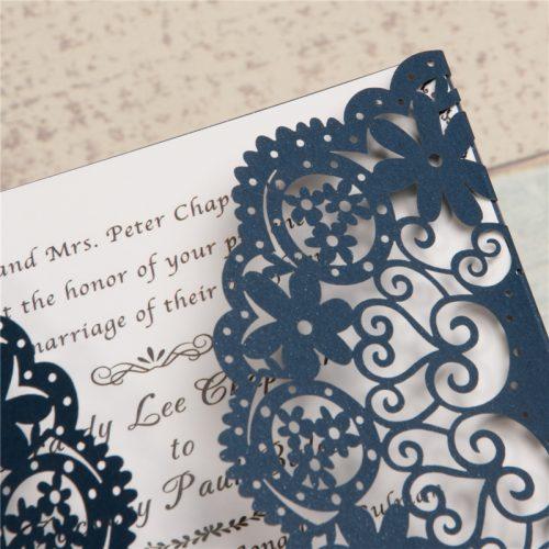 Partecipazioni pizzo Matrimonio Tasca Romantica Quadrata Floreali