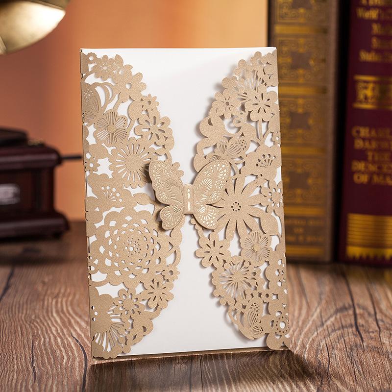 Partecipazioni pizzo farfalle oro