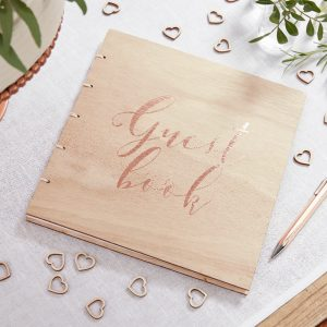 Guest book in legno e oro rosa