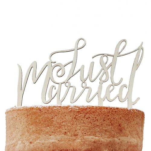 BH-724 Wooden Cake Toppers - Just Married - Cut Out