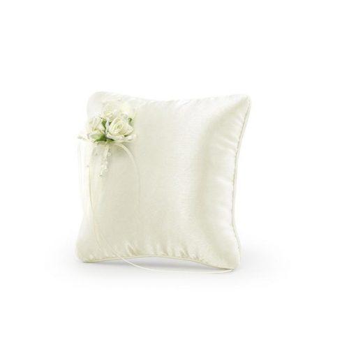 Cuscino portafedi crema con fiori