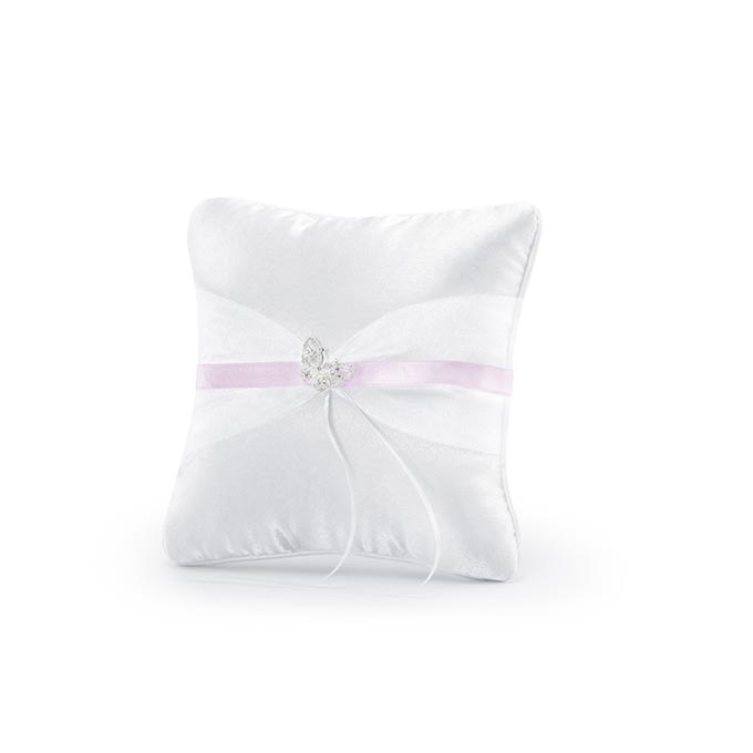Cuscino portafedi con nastro rosa e farfalla