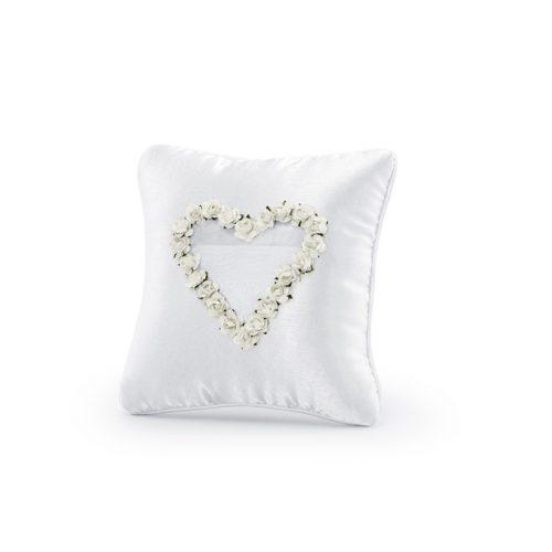 Cuscino portafedi cuore rose bianche