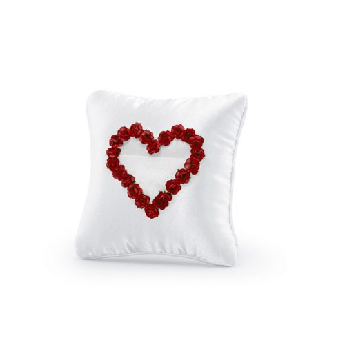 Cuscino portafedi cuore rose rosse