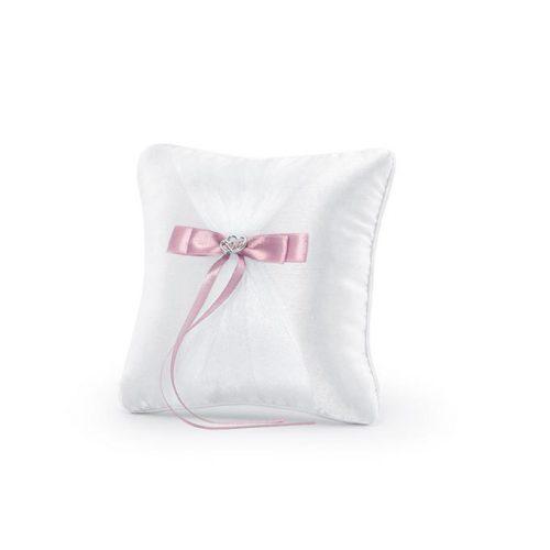 Cuscino portafedi con fiocco rosa e cuori