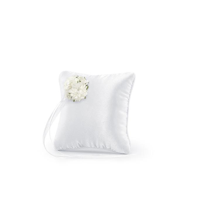 Cuscino portafedi fiori bianchi