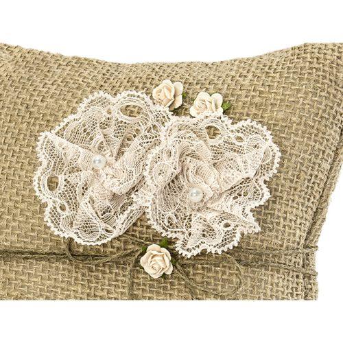 Cuscino portafedi iuta e fiori
