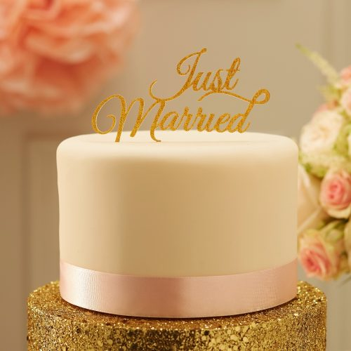 PP-609 Just Married Cake Topper - Gold