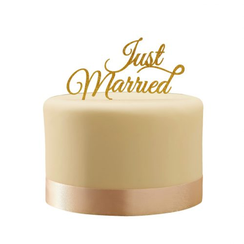 Just Married Cake Topper - Gold Cutout