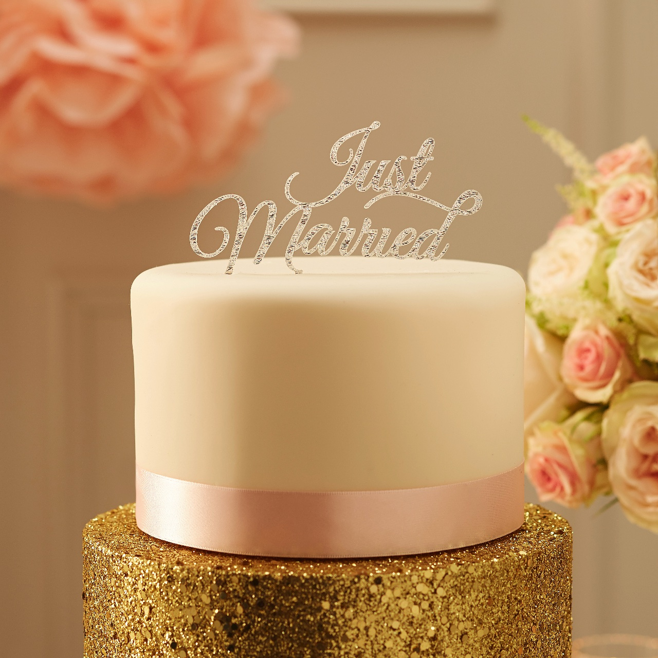 PP-610 Just Married Cake Topper - Silver
