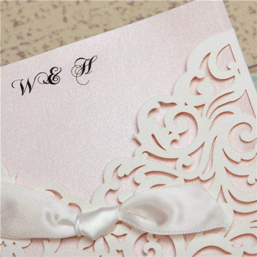 Partecipazioni matrimonio pizzo bianche fiocco